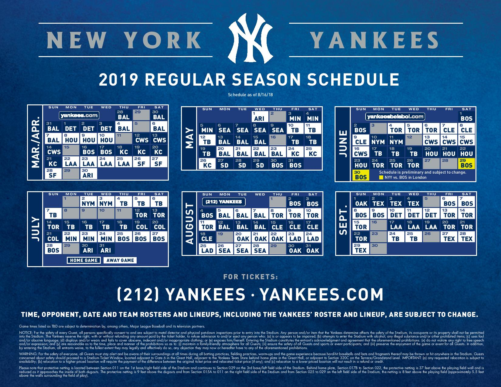 Yankee 2019 Schedule NY Yankees Baseball 2019 Schedule   Hometown 1340 AM / 105.3 FM WLVL